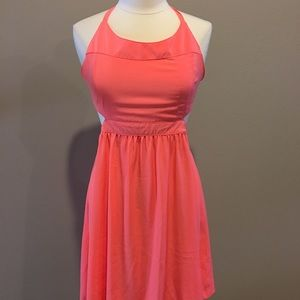 Neon halter dress side cut outs